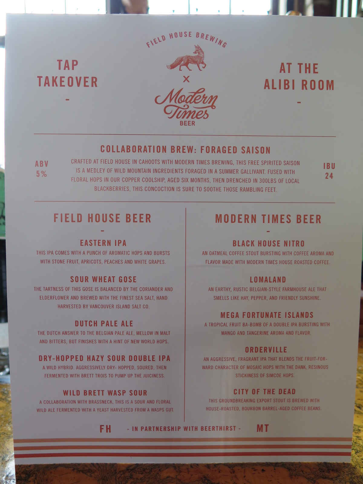 Field House Brewing Modern Times Beer tap takeover Alibi Room