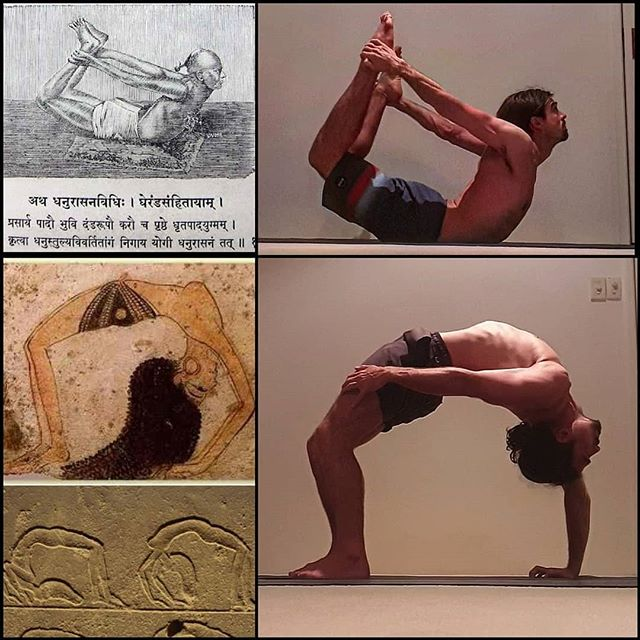 """Dhanurasana postures:  There are many ways to warm up and loosen the body for these postures. I have given just one example in the video included.  Dhanurasana is mentioned in the 1400CE Hatha Pradipika. The text states: . """"Having held the big toes of both feet with both hands, one should pull [them] like a bow as far as the ears. This is called bow pose. (HYP 1.25)"""". . The earliest example of an Urdhva Dhanurasana type movement I can find are 2000-4000 year old carvings from TheKarnak Temple Complex in Egypt.  They seem to be ilustrations of how the ancient Egyptians chose to celebrate certain dates in their religious calendar with dancing, music and acrobatics.  The 8th century text Hevajra Tantra makes repeated reference to the importance of transformational dance for embodying the qualities of the deity and purifying a specified thirty-two subtle energy channels within the body. As the Hevajra Tantra states; """"When joy arises if the yogin dances for the sake of liberation, then let him dance the vajra postures [of Hevajra] with fullest attention … The yogin must always sing and dance"""". Such statements suggest that the origins of Trulkhor (pranayamaand body postures (asanas)), as a means of embodying the qualities of Vajrayāna deities and supporting internal psychophysical processes, may lie not only in early Haṭha Yoga-like techniques, but also in traditions of Tantric dance, such as the yogic tāndava dance form transmitted within Kashmiri Saivism and the Newar Buddhist tradition of caryānṛtya.  Using the body as a means of transcendence is a primary feature of Tantric Buddhist yoga, which appears to have been infuenced by a wide variety of contemporaneous movement practices and introspective disciplines.  The etymological root for the word Tantra means to """"weave"""" or """"extend"""", in other words, create a tapestry out of the various """"threads"""" (sutras), in an open ended, creative, experimental fashion.  Thus, a creative and eclectic approach to movement and contemplat"""