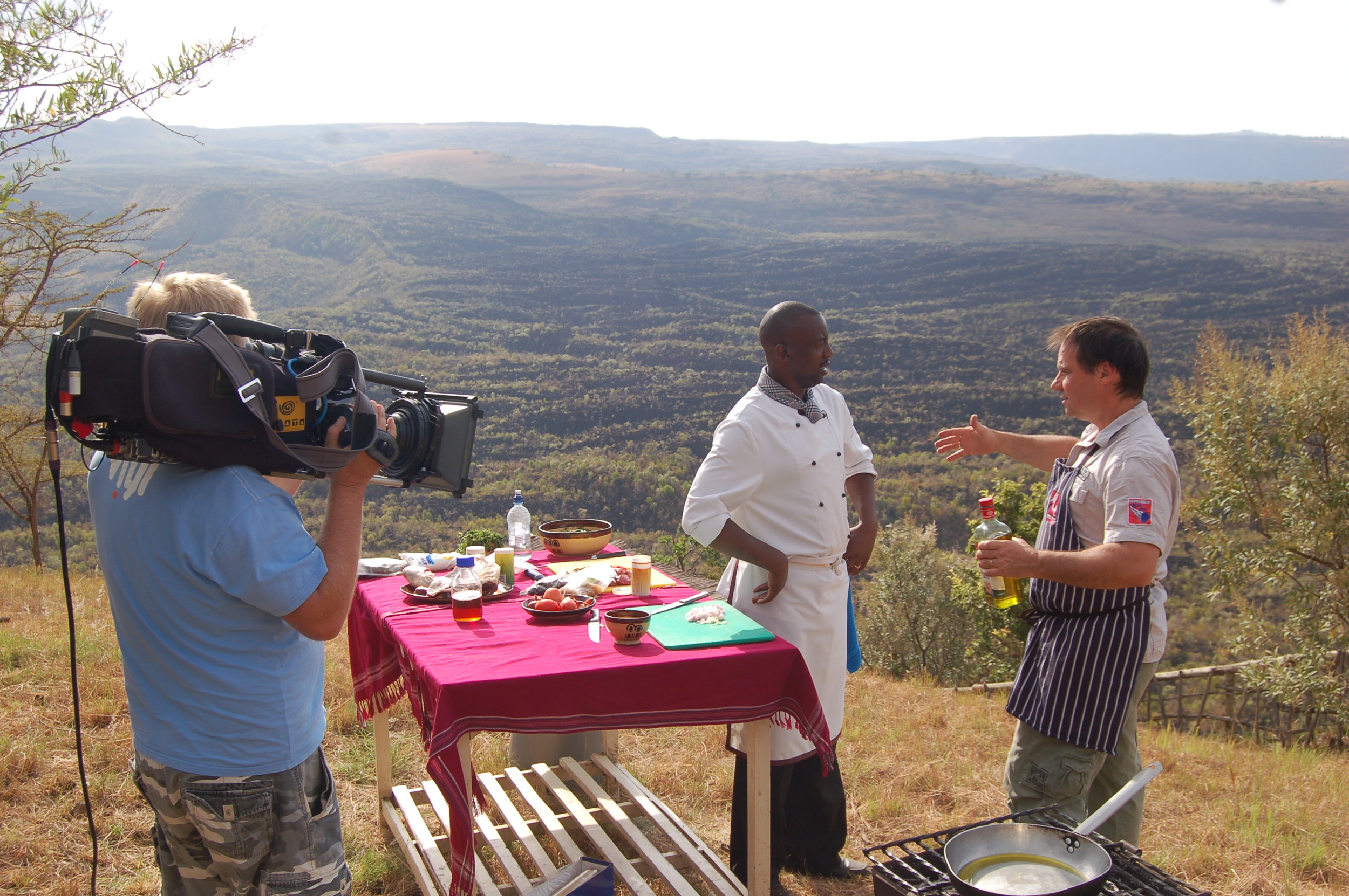 Shooting on a mountainside in Kenya