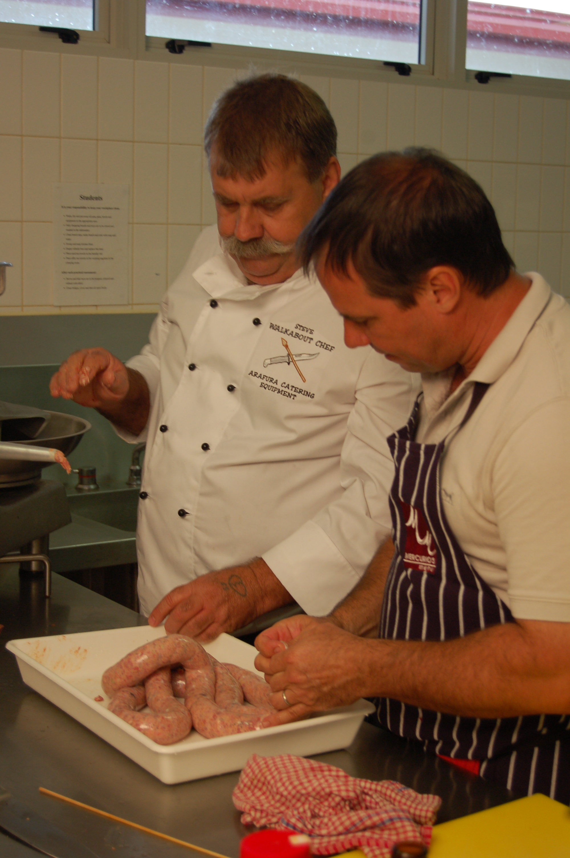Making buffalo sausages with Steve the Walkabout Chef in Darwin