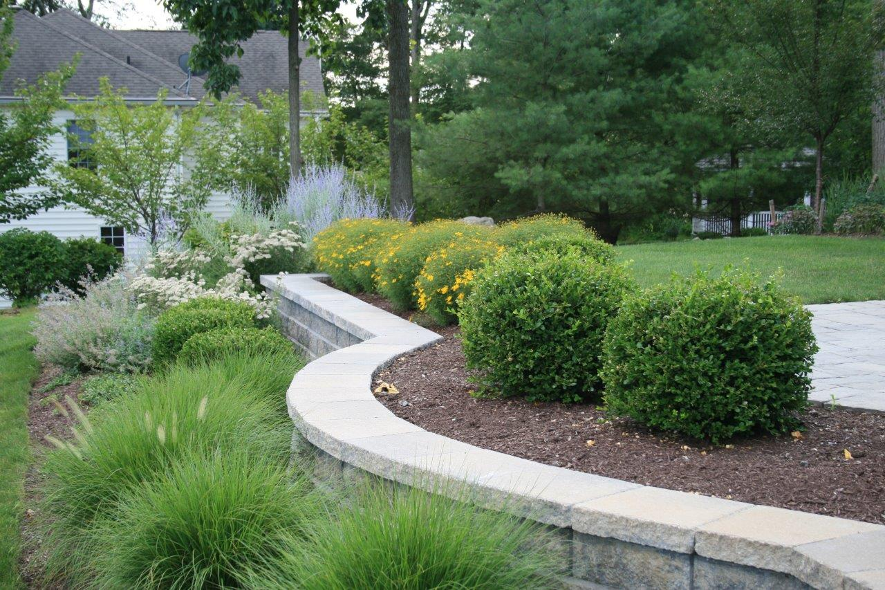 Garden design with top retaining wall in Randolph, NJ