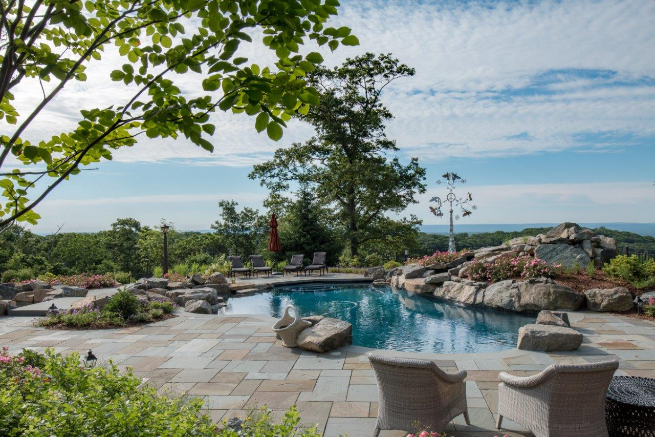 Pool patio with water features in Randolph, NJ