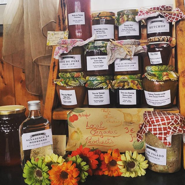 We are all stocked up with lovely locally produced jams, chutneys, sauces and honey. We even have a couple of bottles of medronho if you can handle it 😝.