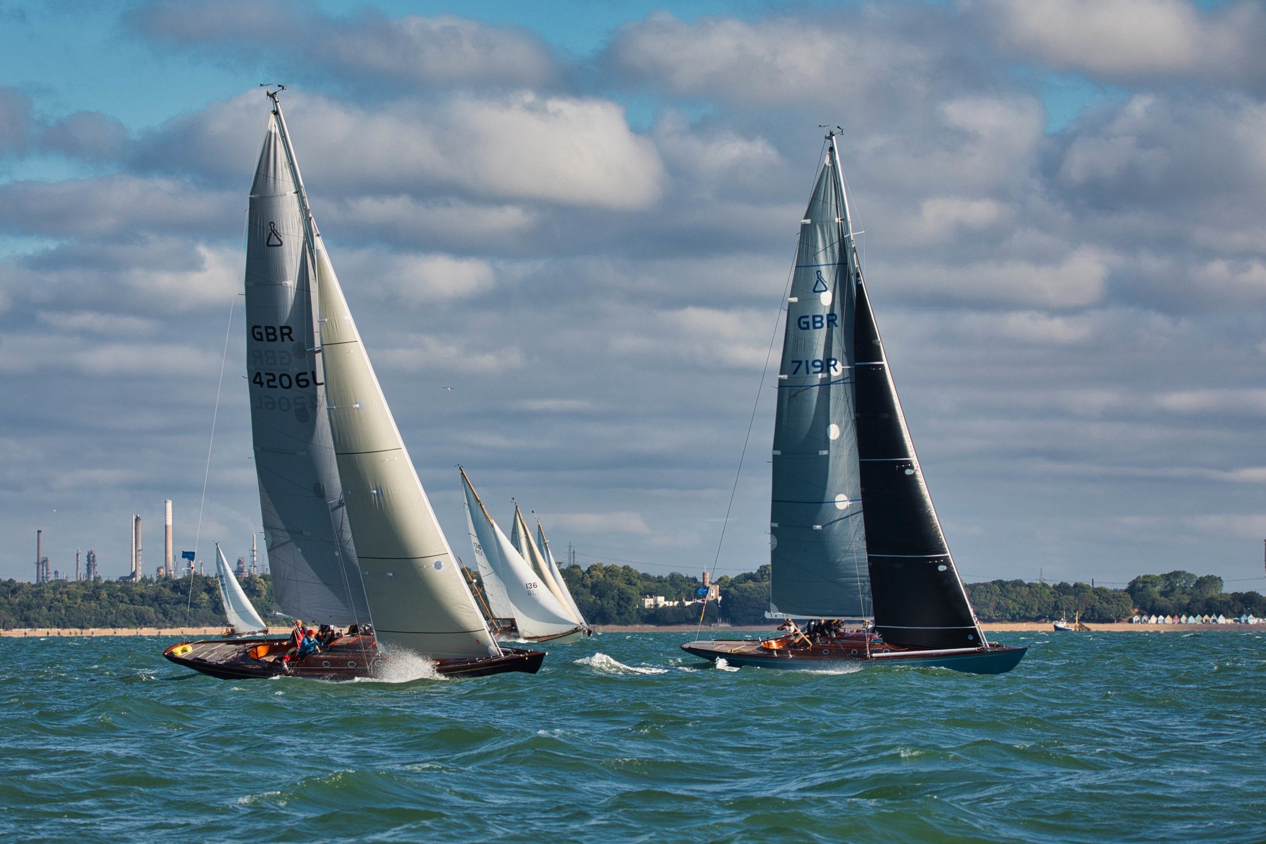 Spirit yachts on the upwind leg towards the forts