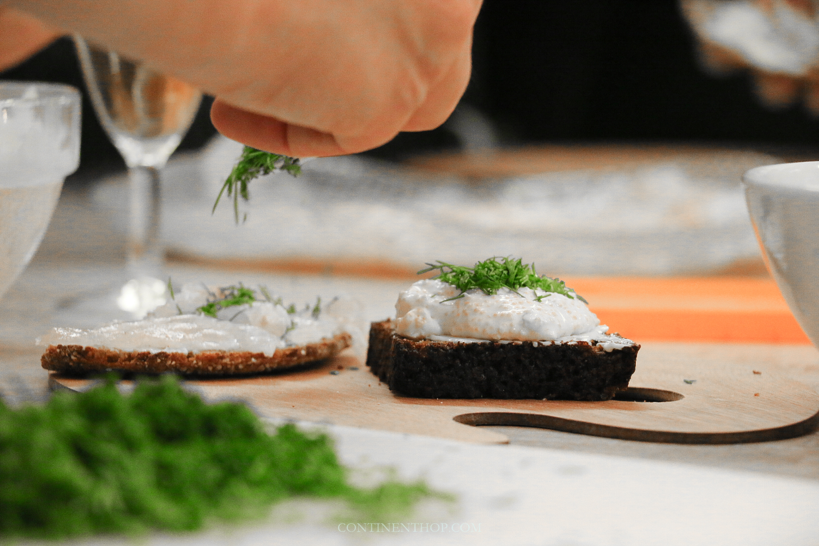 dark rye bread with sour cream and roe and ppikeperch for a typical finnish food