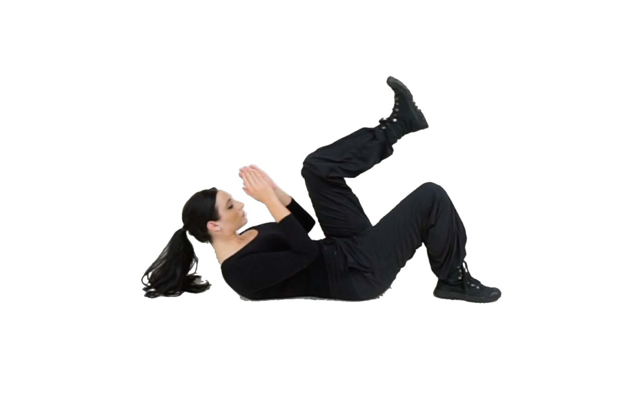 Step 2 - Tuck your chin to raise your head (so you can see your target and raise your hands to protect your face. Raise one leg, bend your knee so it is tucked into your chest and flex your foot so that you are ready to kick if needed.