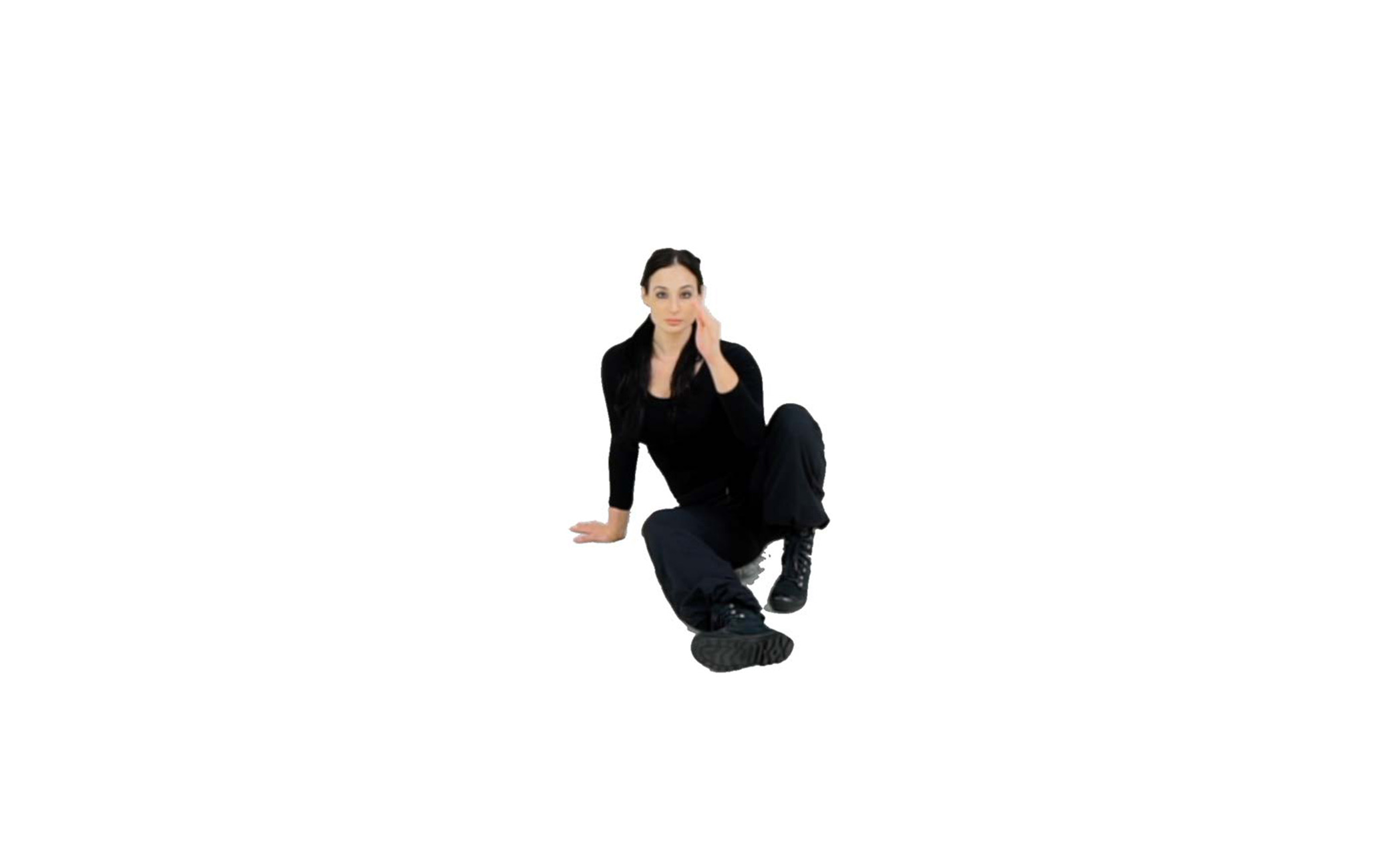Step 1 - Start in a seated position with your combative leg extended in front of you. Place the same-side hand as the combative leg flat on the ground behind and slightly to the side of you. The opposite leg should be bent with your foot flat on the ground, and that hand should be up by your face in the Survival upper body position.