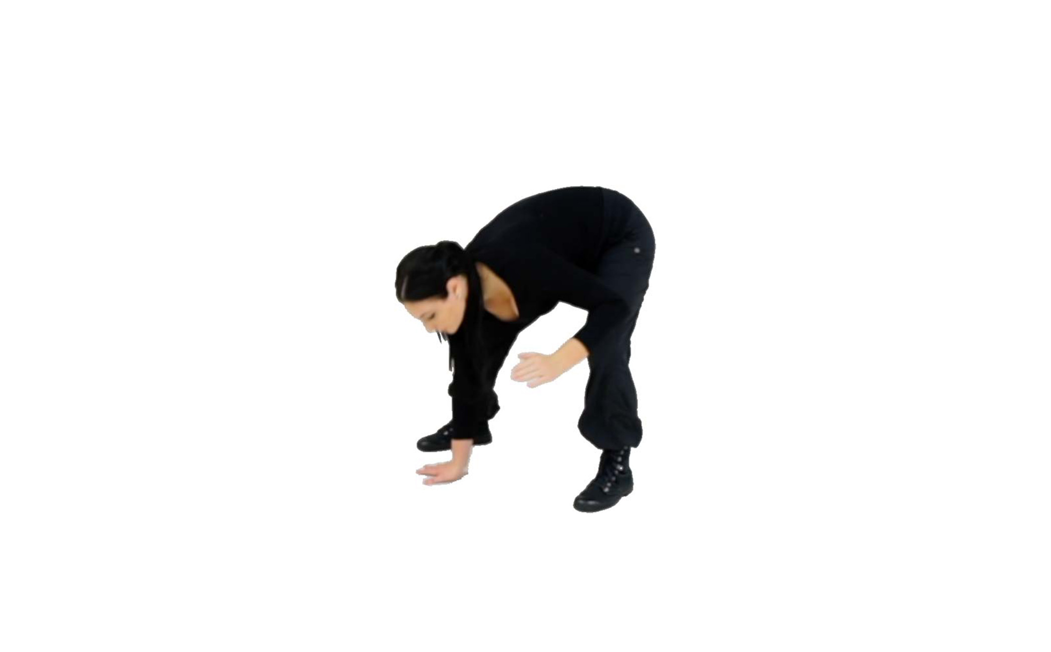 Step 3 - Bend your knee and drive your kicking leg backward so that it is behind your supporting hand on the ground, and plant your foot.