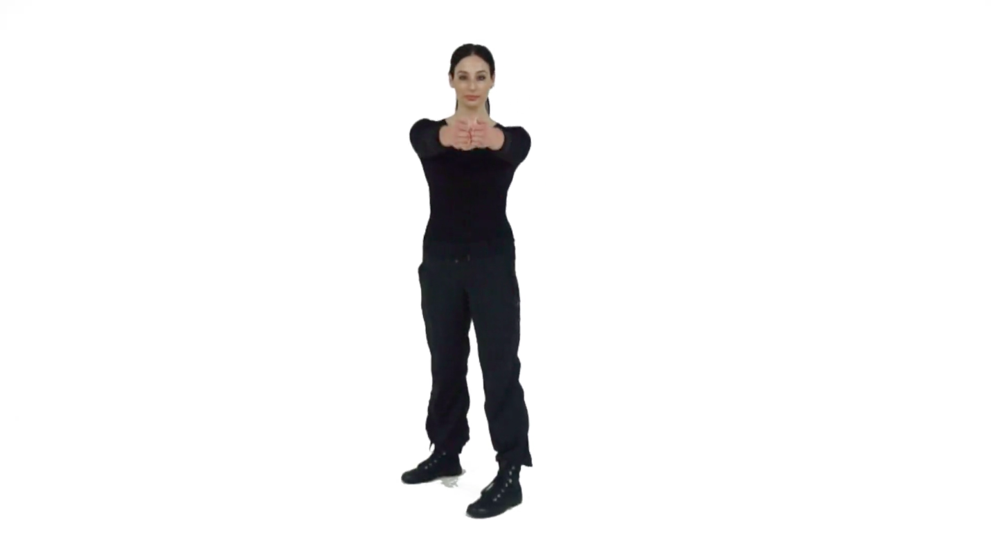 STep 4 - Raise your hands to shoulder level and maintain your bladed body so that your rear leg pulls that same shoulder back.