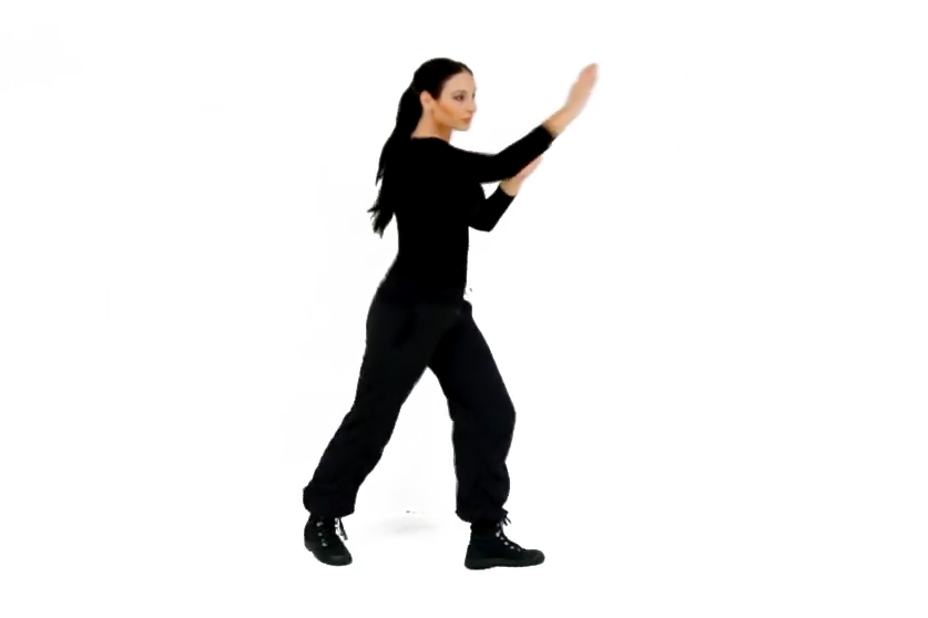 Step 2 (Back) - To use the rear leg, make sure to first slightly pivot your front foot (which will open up your hips for your hip thrust while you knee the target)