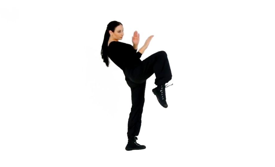 Step 3 (Back) - Raise your knee and tuck your foot back as you drive the knee into the target.