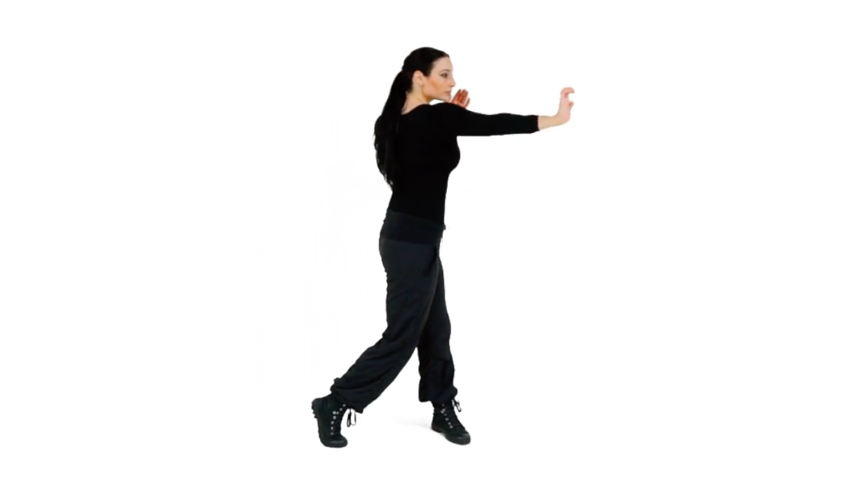 Step 2 (Back) - Curl the fingers back, flex the striking hand's wrist so you expose the heel of that palm. Continue to extend your arm until your elbow is slightly bent and make sure you engage that powerful Combative Twist behind the movement to maximize the power that you are generating.