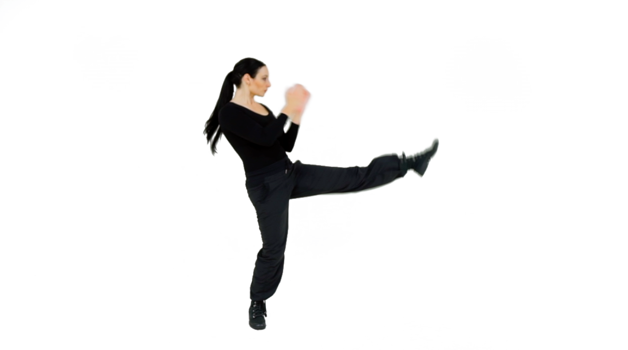 TACTIC 1 - Keeping your foot flexed, and without locking your knee, extend the leg fully to complete your Push Kick.