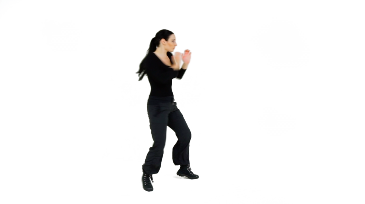 Transition - As you return your arm from the Near-side Palm Strike, begin sending out your Rear-side Palm Strike AND turn the Near-side leg out by pivoting the foot.