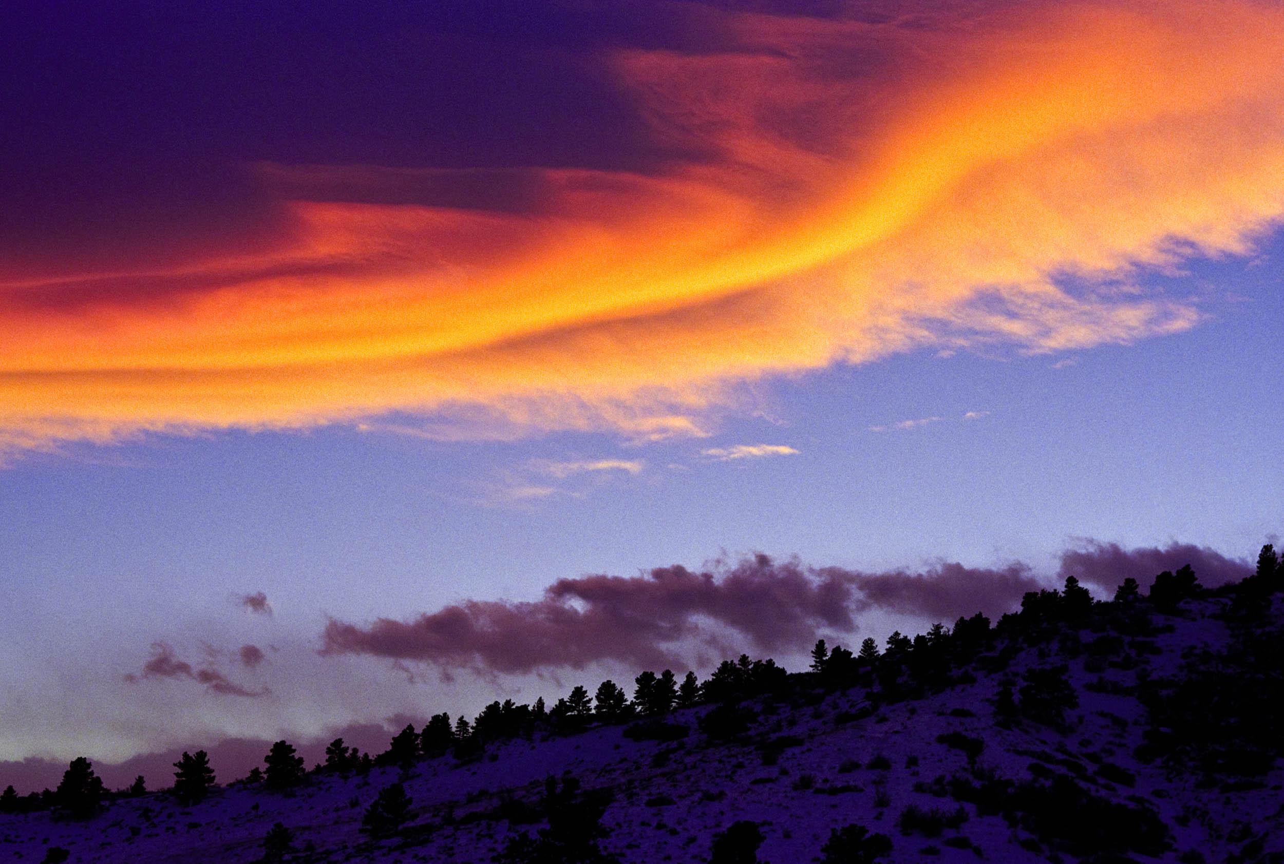 Lenticular Clouds at Sunset Near Boulder, CO 1993