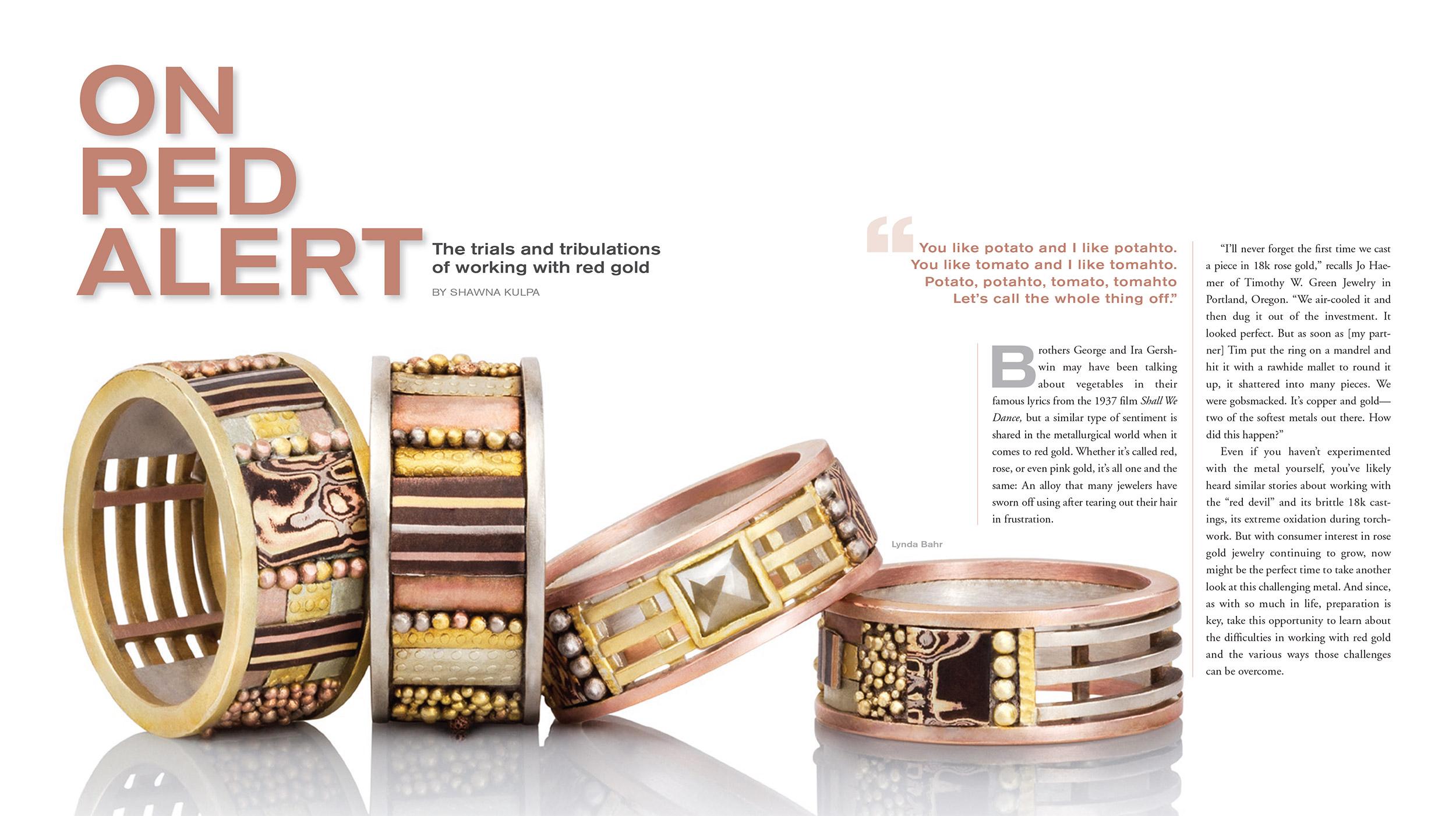 Editorial in MJSA Journal, July 2018 Client: Lynda Bahr Jewelry