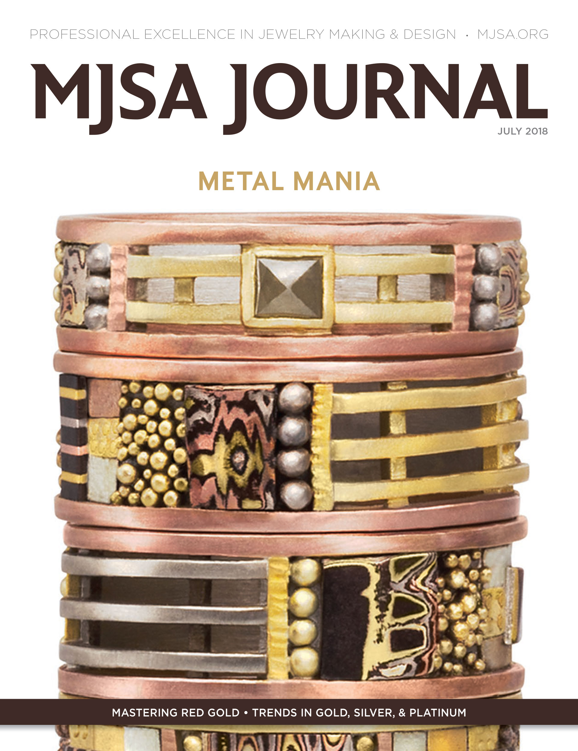 Cover of MJSA Journal, July 2018 Client: Lynda Bahr Jewelry