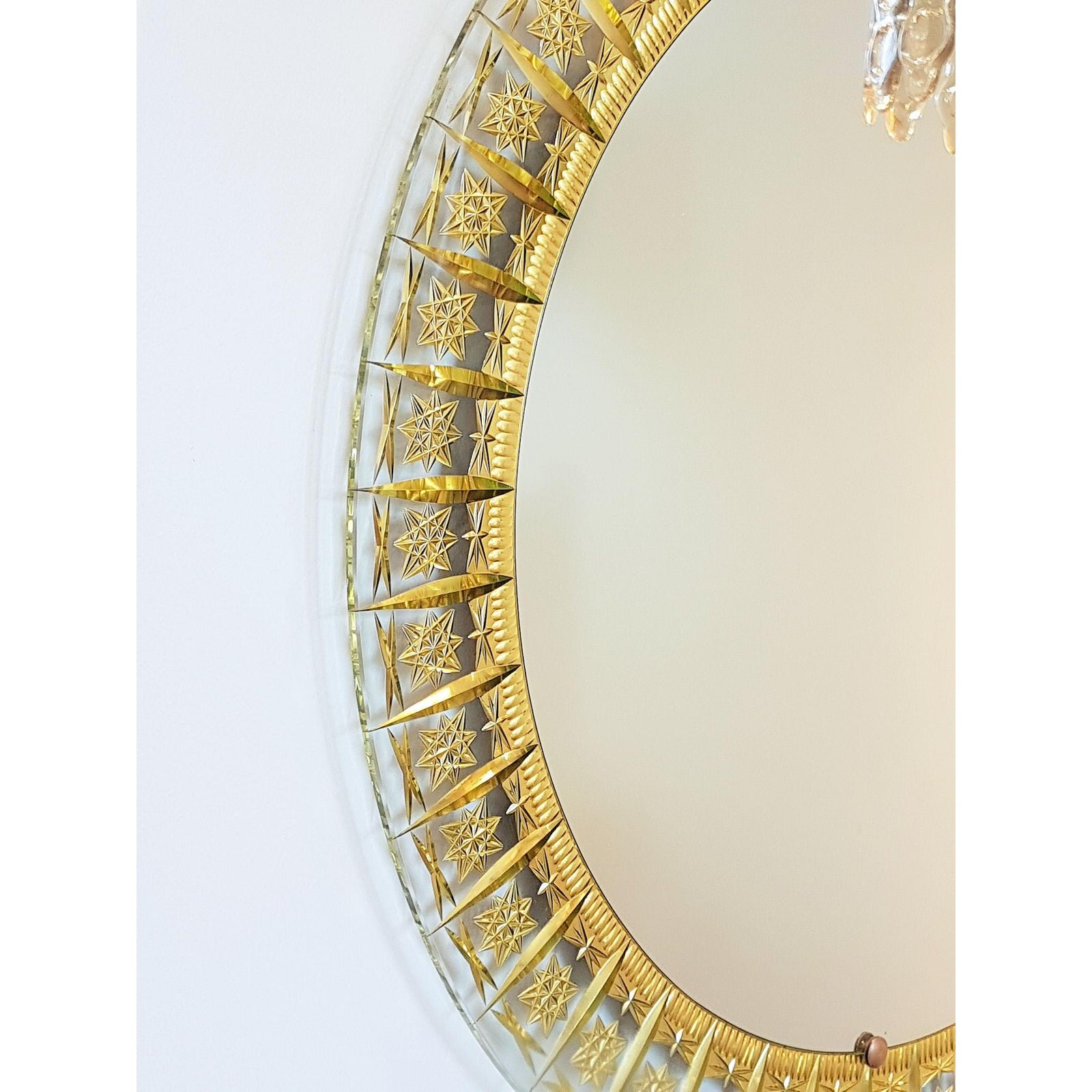 Vintage Cristal Arte All Glass Mirror With Gold Inclusions Boston Design Center