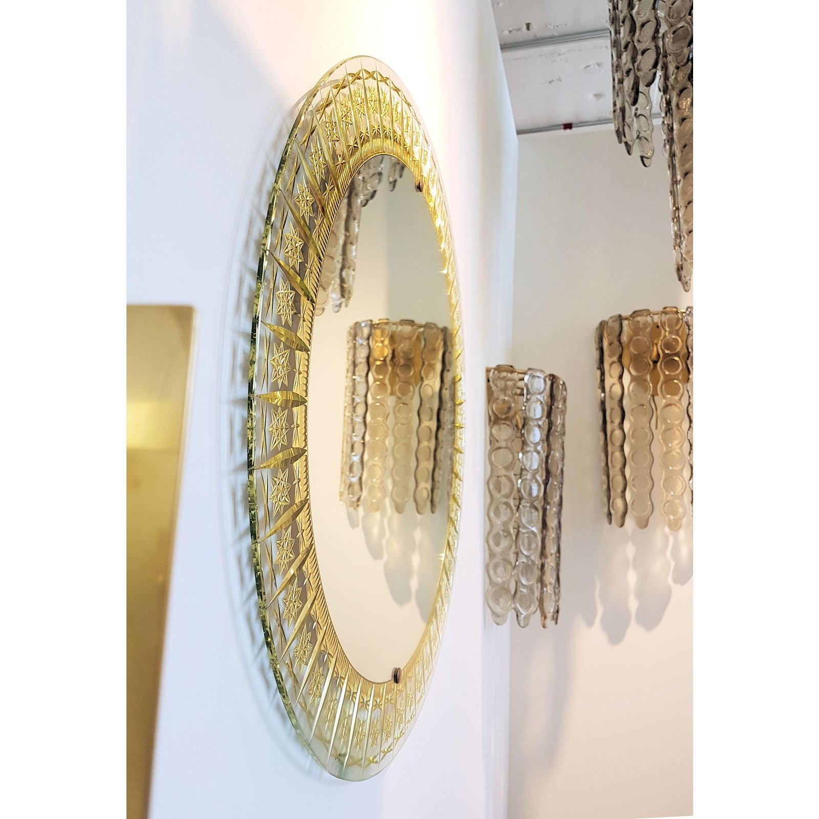 Image of: Vintage Cristal Arte All Glass Mirror With Gold Inclusions Boston Design Center