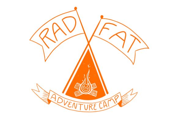 Copyright 2019 Radical Health Alliance  Image description: orange camp logo, two flags and banner that read: Rad Fat Adventure Camp, with campfire illustration in the center.