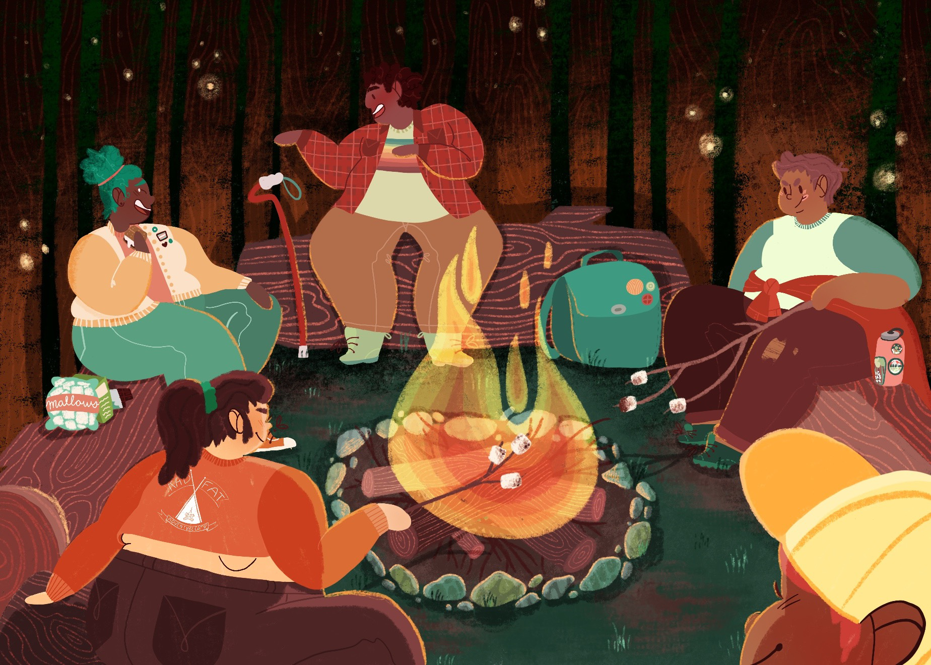 Exclusive illustration just for Rad Fat Adventure campers!  Image description: five fat campers around a campfire roasting marshmallows, laughing and talking.