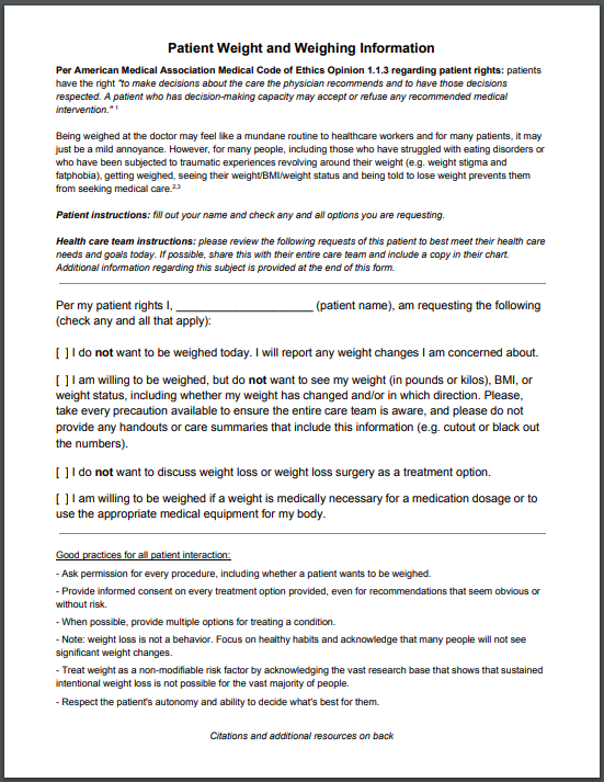 Image description: screen capture of the weighing request sheet, click through to PDF for screen reading capability.