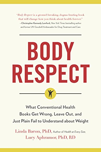 Image description: book cover for Body Respect (beige cover with book title and small drawing a person with their arms raised)