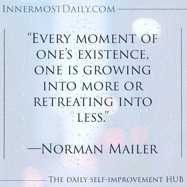 """""""Every moment of one's existence, one is growing into more or retreating into less."""" ―Norman Mailer  We are either growing or dying, and that goes for all things. We are either appreciating or depreciating in value. We cannot expect to lay stagnant and rest on our laurels and still be held to a high standard that we set for ourselves long ago. We must consistently work on ourselves to grow and prosper into the next chapter of our lives. Growth is a basic human necessity that must be for filled, otherwise we were ask we cannot expect to lay stagnant and rest on our laurels and still be held to a high standard that we set for ourselves long ago. We must consistently work on ourselves to grow and prosper into the next chapter of our lives. Growth is a basic human necessity that must be for filled, otherwise we risk the decline of our happiness, health, and wellbeing."""