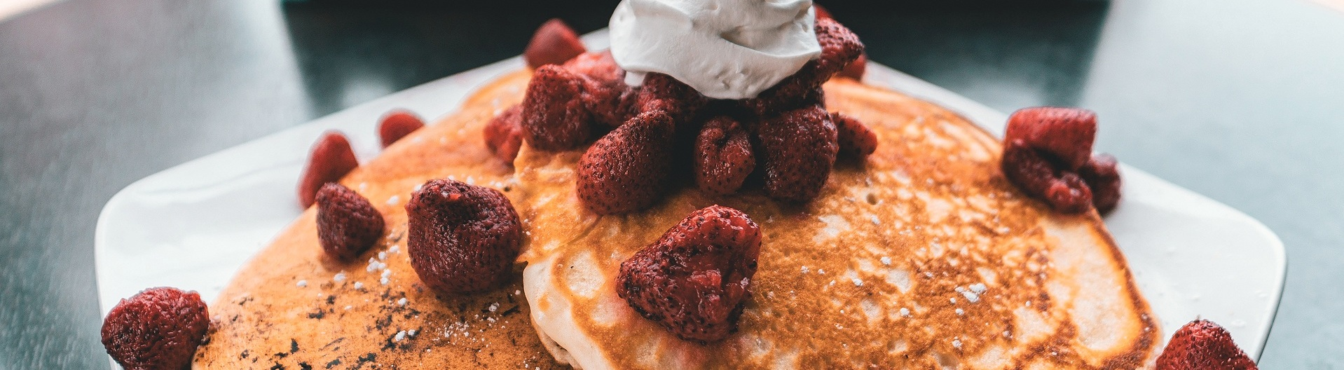 Pancakes top with strawberries
