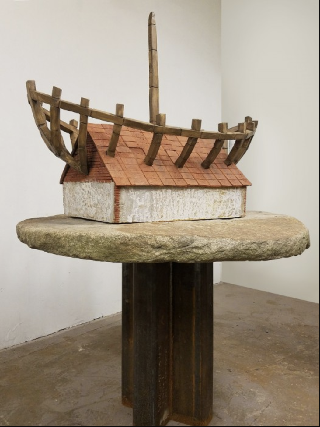 The House in the Boat the Boat in the House 2017 Stone and steel 63 × 46 × 45 inches
