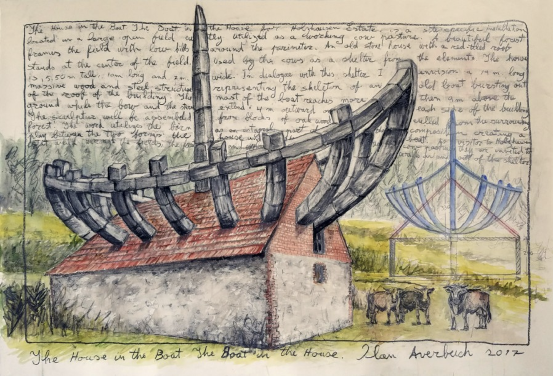 The House in the Boat The Boat in the House 2017 Mixed media on paper 30 × 40 inches