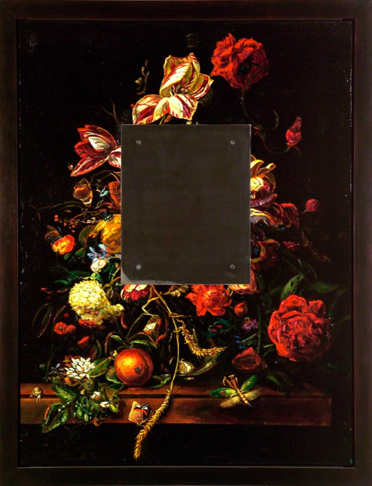Still Life with Steel, to Van Aelst, 1999 oil on plaster on board, steel 52.5 × 40.5 inches