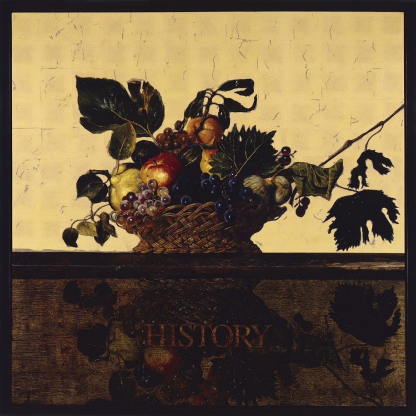 A Eulogy, after Caravaggio, 1999 oil on gold leaf on board 73 × 73 inches