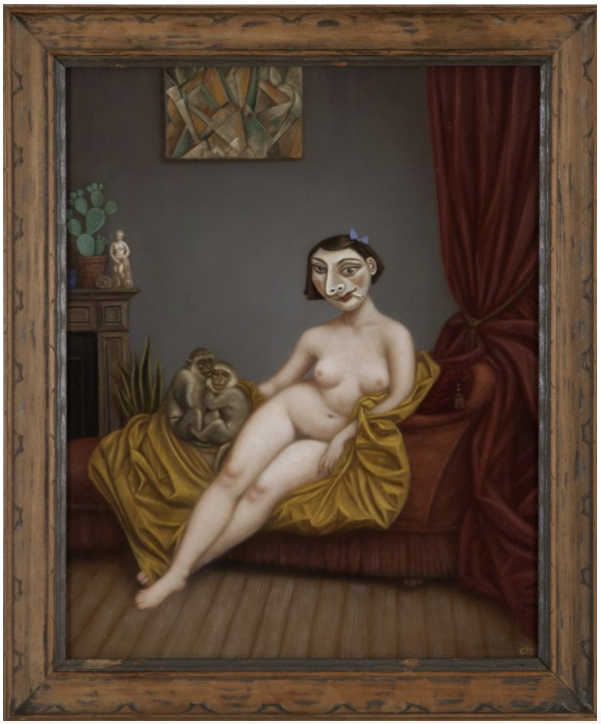A Lady at Home with Monkeys Abelard and Heloise, 2018 oil on panel 17 × 14 inches