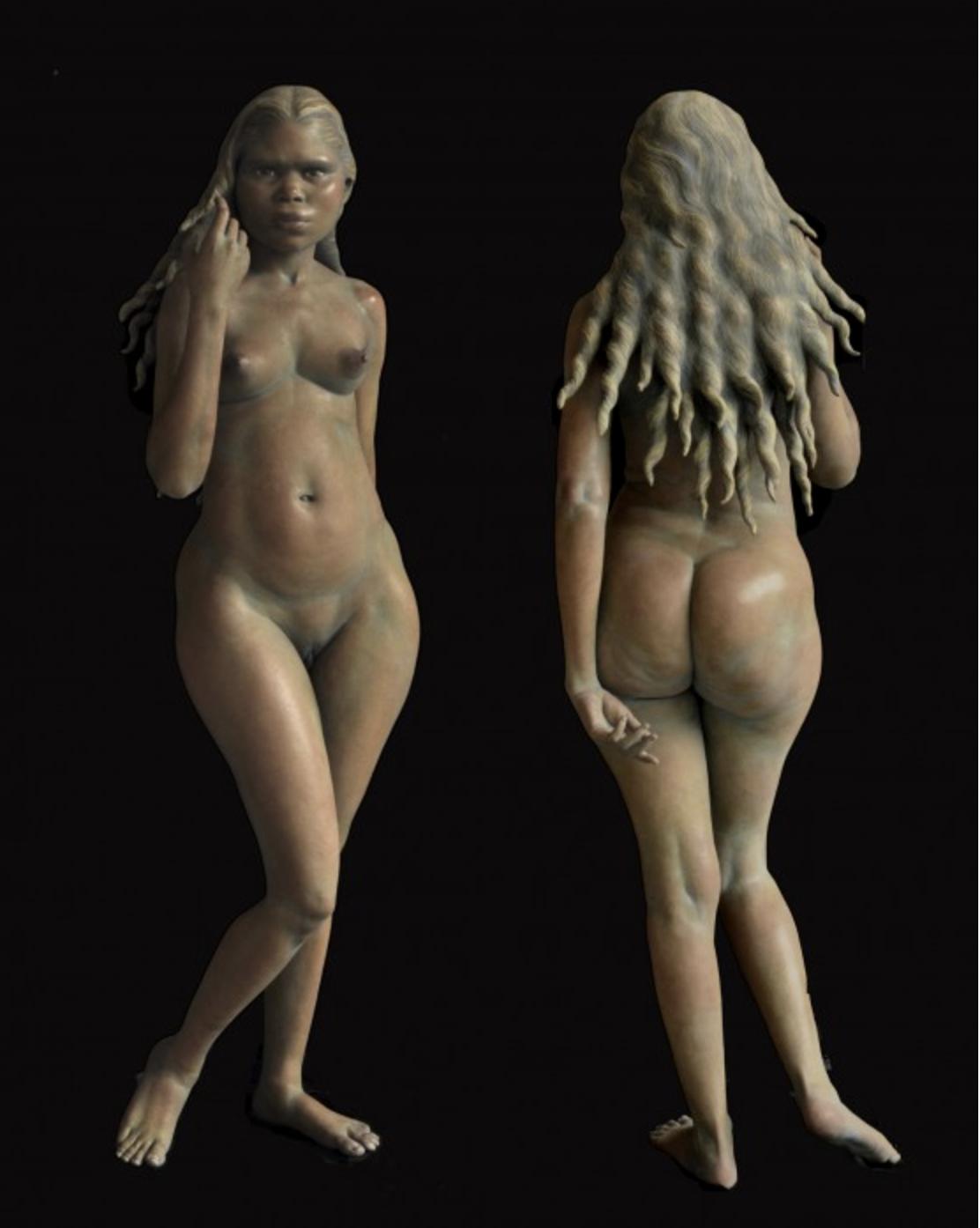 Eve, 2014-17 terra cotta, casein paint 57.5 × 15 × 14 inches