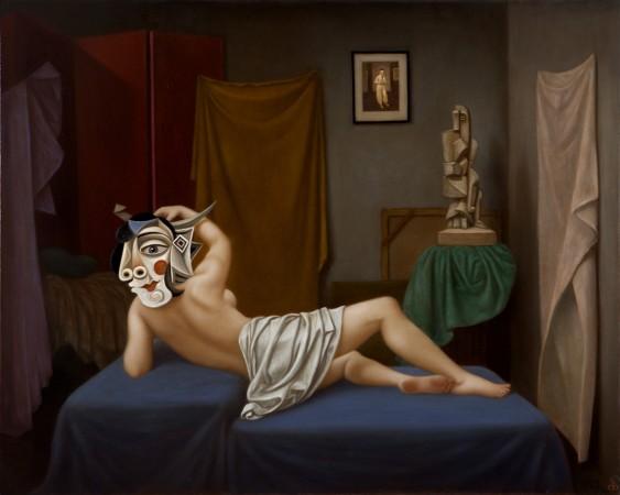 Colette Calascione, Ode to a Cockatiel, 2018 oil on canvas 34 × 30 inches