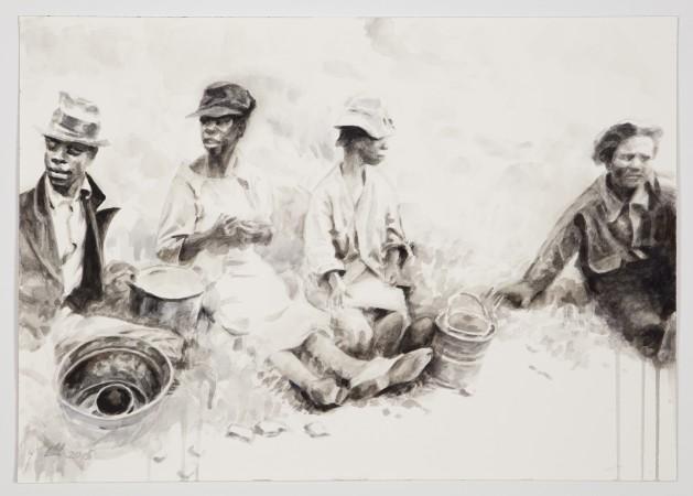 Hung Liu, Field Break, 2016 watercolor on paper 14 × 20 inches