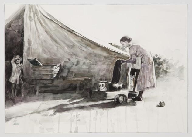Hung Liu, Rural Slum, 2016 watercolor on paper 14 × 20 inches
