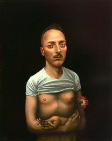 Timothy Cummings, Self Portrait with Flower, 2010 acrylic on panel 20 × 16 inches