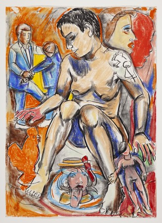 Viola Frey, Fighting Men Series Drawing I, 1993 pastel on paper 42 × 30 inches