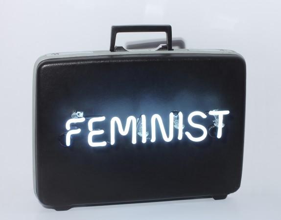 Feminist #1, 2015, Neon on vintage briefcase, 12 x 18 x 5 inches