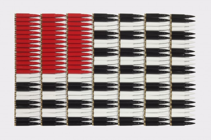 Red White and Black, 2016, Bullets, enamel, wood, 12.5 x 20 x 1 .5 inches