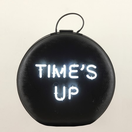 Black time's UP American Tourister, 2018, neon on vintage purse, 21 x 17 x 8 inches