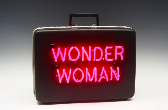 Wonder Woman, 2018, Neon on Vintage briefcase, 12 x 18 x 5 inches
