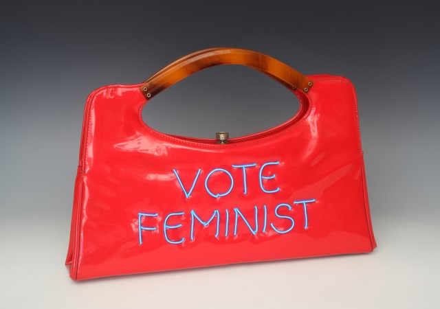 Vote Feminist, 2018, vintage purse with electroluminescent wire