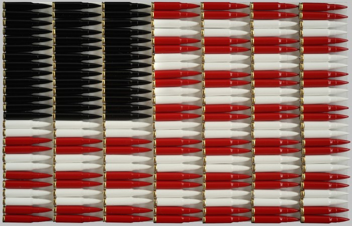 Red, White and Black, 2018, Bullets, enamel on wood panel, 13 x 20 x 2 inches