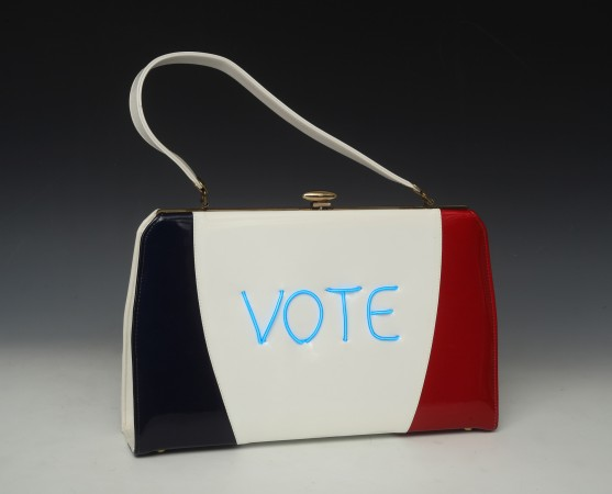 Vote Feminist (2 sided) edition  3/10, 2018, vintage purse with electroluminescent wire