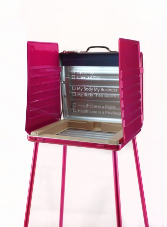 Real Choices, 2018, vintage voting booth, enamel paint, Plexi
