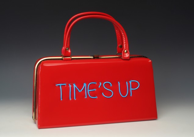Power of the Purse: Time's Up/ Equal Pay , 2018, vintage purse with electroluminescent wire, 11 x 12 x 4 inches