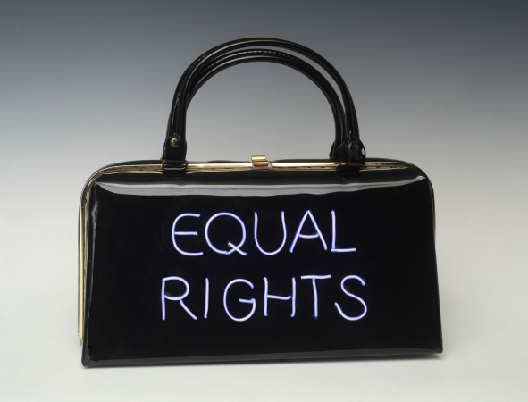 Power of the Purse: Equal Rights, 2018, vintage purse with electroluminescent wire, 11 x 12.5 x 4 inches